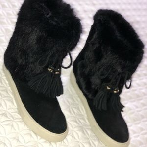 TORY BURCH BLACK ANGELICA BOOT RABBIT FUR SPLIT SU